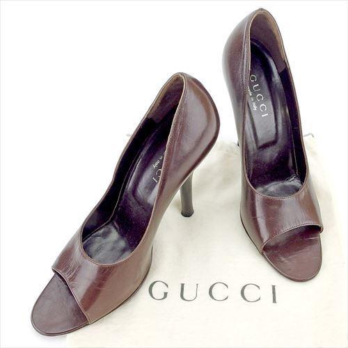 【中古】 グッチ GUCCI パンプス シューズ 靴 レディース ♯36ハーフC ハイヒール ブラウン レザー T5618 .