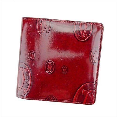 【中古】 カルティエ Cartier 二つ折り 財布 レディース ハッピーバースデー ボルドー エナメルレザー 人気 T5622