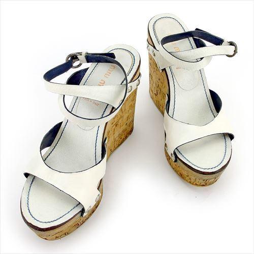 【中古】 ミュウミュウ miu miu サンダル シューズ 靴 レディース ♯37 コルクウェッジソール ホワイト 白 シルバー ベージュ系 レザー T5679 .