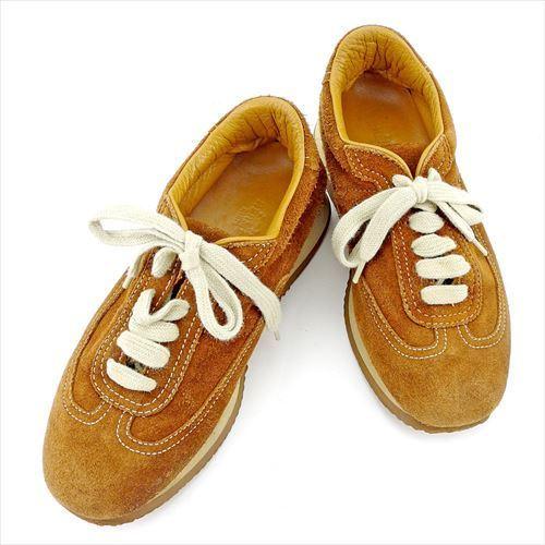 【中古】 エルメス HERMES スニーカー シューズ 靴 レディース ♯36 ローカット ブラウン ベージュ スエード T5710