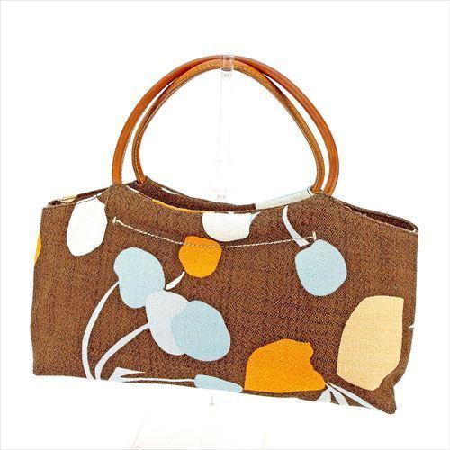 【中古】 ミュウミュウ miu miu ハンドバッグ バッグ レディース プリント ブラウン オレンジ ブルー系 キャンバス×レザー 美品 T5711