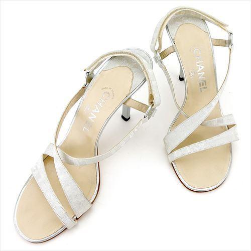 【中古】 シャネル CHANEL サンダル シューズ 靴 レディース ♯39 クロスデザイン グレー 灰色 シルバー キャンバス×レザー T5721 .