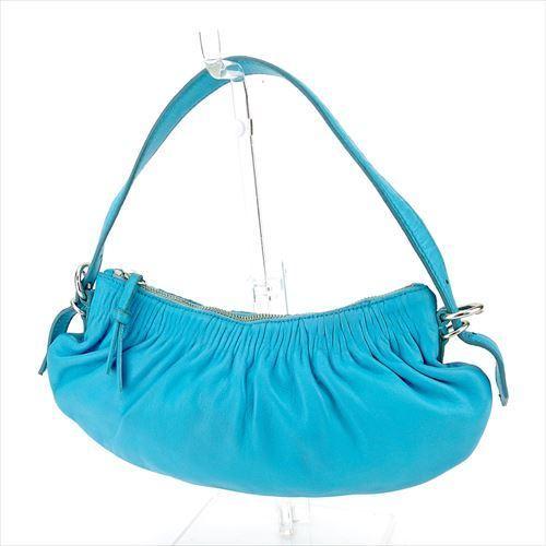 【中古】 ミュウミュウ ショルダーバッグ ハンドバッグ ギャザー ブルー シルバー レザー miu miu バッグ バック 肩掛け 収納 ブランド ブランドバッグ 人気 贈り物 迅速発送 在庫処分 男性 女性 良品 夏 1点物 T5725