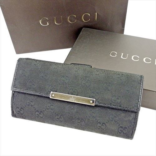 ce065e2b1a4 Gucci GUCCI long wallet wallet W hook lady s men s possible GG canvas black  silver canvas X leather popularity T5746.