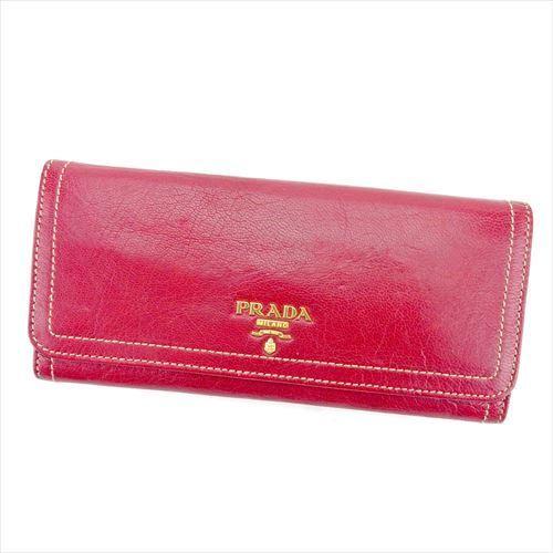 【中古】 プラダ PRADA 長財布 二つ折り 財布 メンズ可 レッド ゴールド レザー 人気 良品 T5787 .
