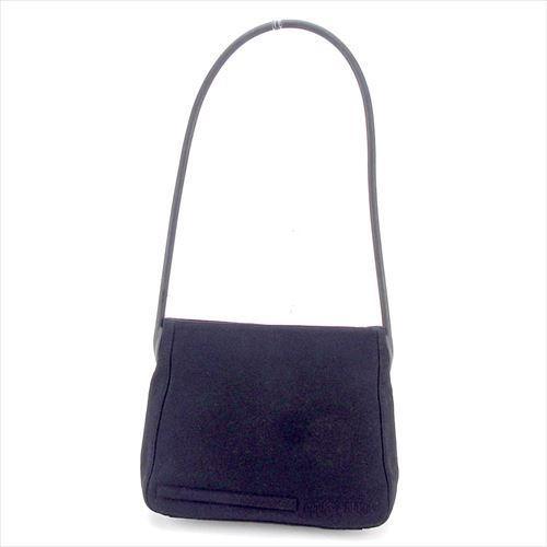 【中古】 ミュウミュウ miumiu ショルダーバッグ バッグ メンズ可 ブラック ジャージ素材×ラバー 人気 良品 T5813