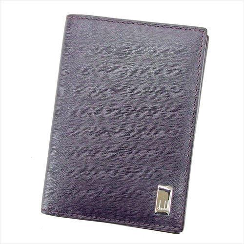 【中古】 ダンヒル dunhill カードケース 名刺入れ メンズ可 ブラウン シルバー PVC×レザー T5814 .