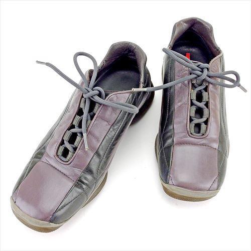【中古】 プラダ PRADA スニーカー #37 1 2 靴 シューズ レディース ブラウン ブラック レザー T5827