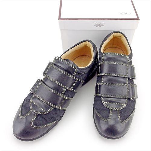 【中古】 コーチ COACH スニーカー #5 シューズ 靴 メンズ可 シグネチャー ブラック キャンバス×レザー 人気 良品 T5834 .