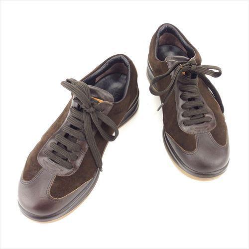 【中古】 ルイ ヴィトン Louis Vuitton スニーカー シューズ 靴 メンズ ♯5 ローカット ロゴ ブラウン ベージュ スエード×レザー 良品 T5848 .