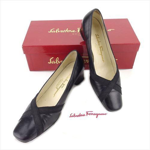 be1b6e5c6465 【中古】 サルヴァトーレ フェラガモ Salvatore Ferragamo パンプス シューズ 靴 レディース ♯5D スクエアトゥ クロス