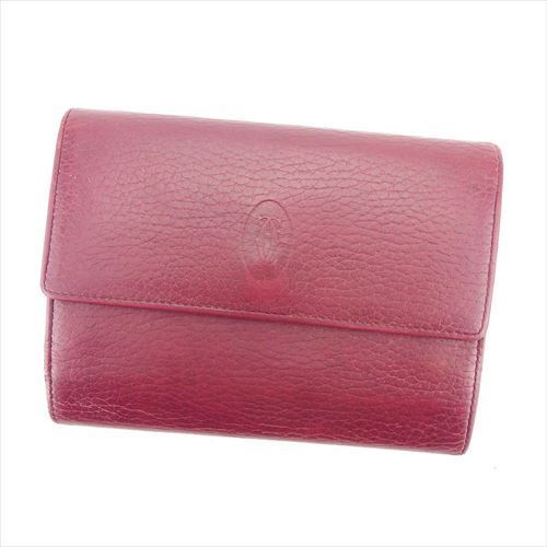 【中古】 カルティエ Cartier 三つ折り 財布 がま口 財布 レディース マストライン ボルドー レザー 人気 T5918