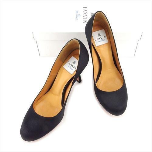 【中古】 ランバン LANVIN パンプス 靴 シューズ レディース #22ハーフ ブラック サテン 人気 T5922 .