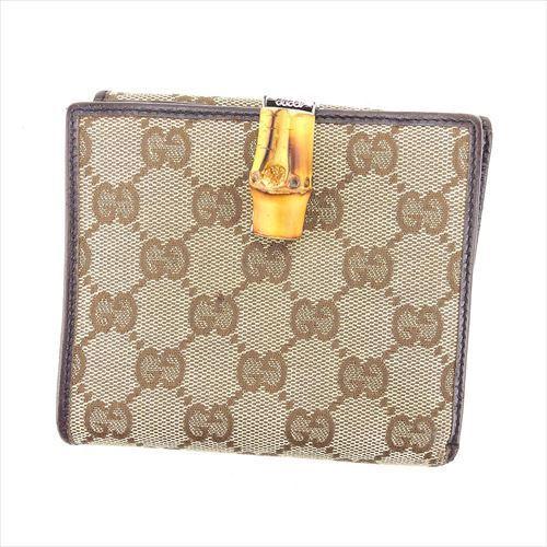 【中古】 グッチ Wホック財布 二つ折り 財布 Gucci ブラウン ベージュ T5926s