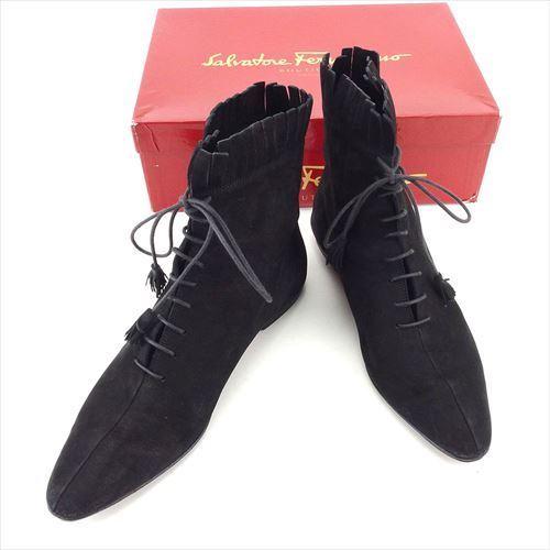 【中古】 サルヴァトーレ フェラガモ Salvatore Ferragamo ブーツ 靴 シューズ レディース #7 ブラック スエード T5935