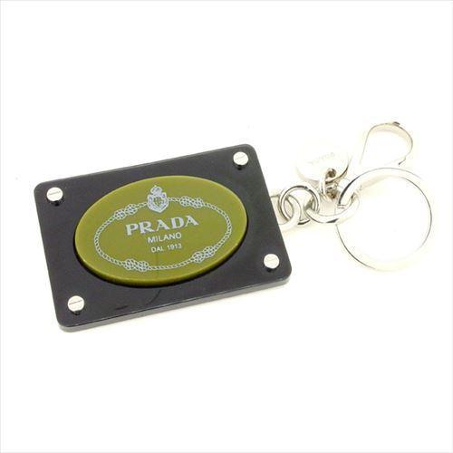 【中古】 プラダ PRADA キーホルダー キーリング レディース メンズ 可 ロゴ ブラック プラスチック 人気 T5992
