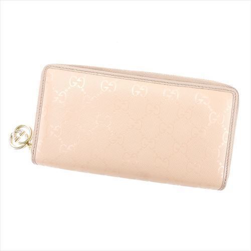 58101f91d35b Gucci GUCCI long wallet round fastener Lady's GG pattern beige PVC X leather  popularity sale T5994 ...