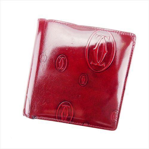 【中古】 カルティエ Cartier 二つ折り 財布 レディース メンズ 可 ハッピーバースデー ボルドー レザー 人気 T6019 .