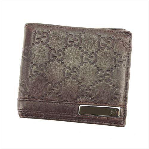 【中古】 グッチ GUCCI 二つ折り 財布 メンズ グッチシマ ブラウン ブラック シルバー レザー 人気 T6052