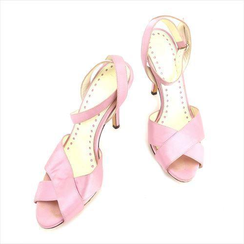 【中古】 サンローラン SAINT LAURENT サンダル シューズ 靴 レディース ♯36 リヴゴーシュ ピンク ゴールド サテン×レザー T6054