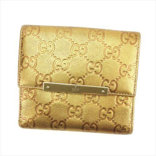 【中古】 グッチ GUCCI Wホック 財布 二つ折り レディース メンズ 可 グッチシマ ゴールド レザー 良品 T6275 .