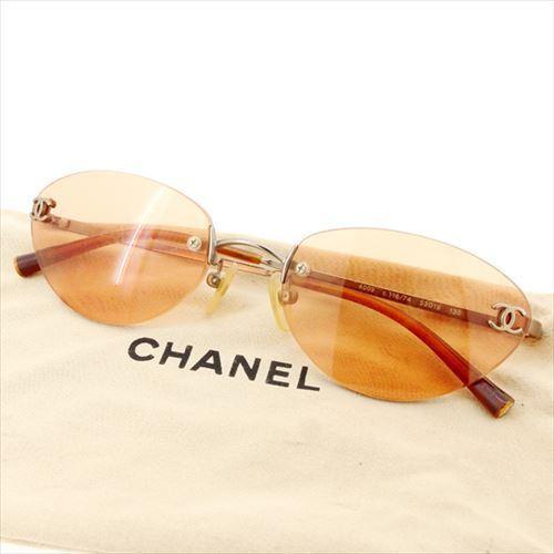 【中古】 シャネル CHANEL サングラス メガネ アイウェア レディース メンズ 可 ツーポイント 縁なし ココマーク オレンジ シルバー ゴールド系 プラスチック×金具 人気 T6376