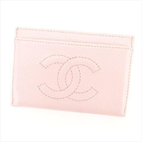 【中古】 シャネル カードケース パスケース Chanel ピンク T6398s .