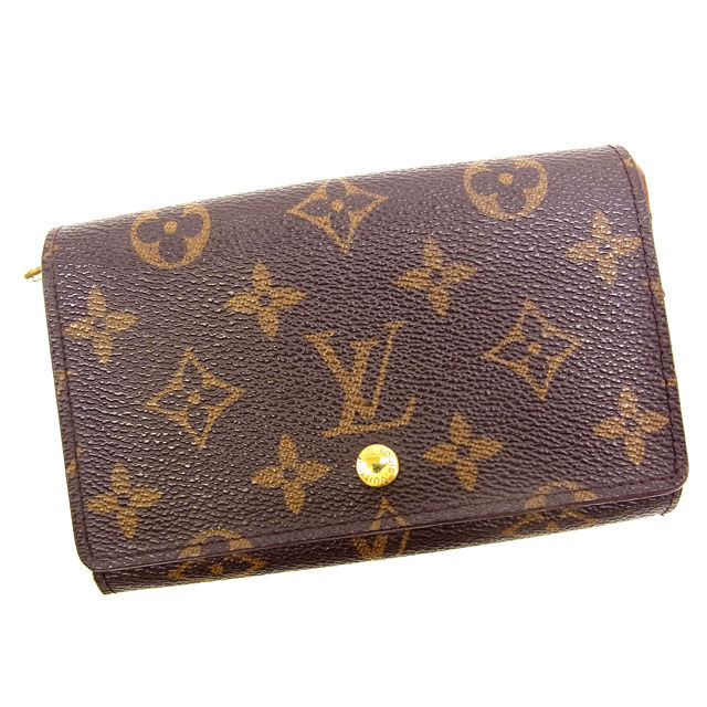 【中古】 ルイヴィトン Louis Vuitton L字ファスナー財布 二つ折り メンズ可 /ポルトモネビエトレゾール モノグラム M61730 ブラウン PVC×レザー (あす楽対応)(激安・即納) Y041 .