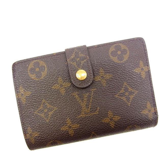 【中古】 ルイヴィトン Louis Vuitton がま口財布 二つ折り メンズ可 /ポルトモネ ビエヴィエノワ モノグラム M61663 ブラウン PVC×レザー (あす楽対応)(激安・即納) Y070 .