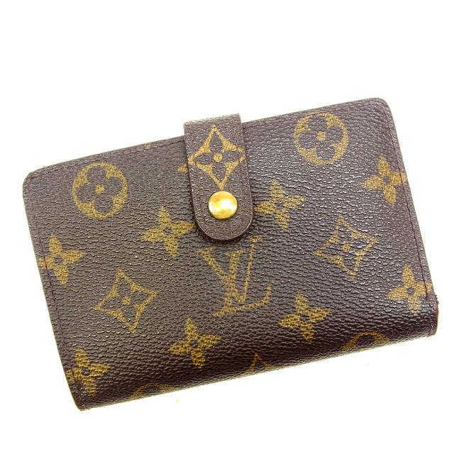 【中古】 ルイヴィトン Louis Vuitton がま口財布 二つ折り メンズ可 /ポルトモネ ビエヴィエノワ モノグラム M61663 ブラウン PVC×レザー (あす楽対応)(激安・即納) Y074 .