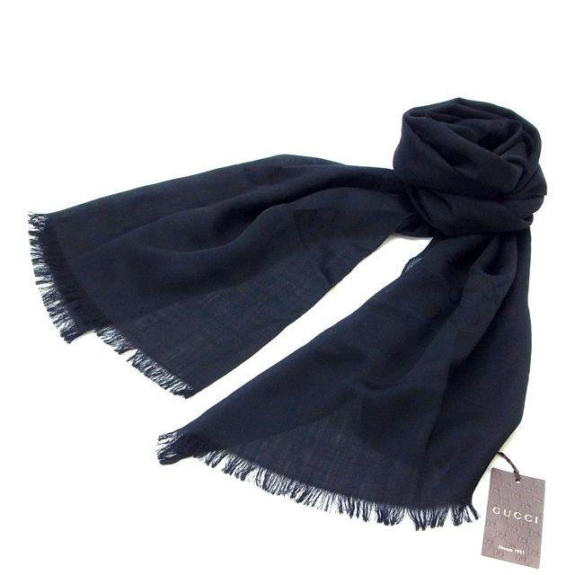 【中古】 グッチ GUCCI スカーフ GG柄 ブラック (あす楽対応)(中古)(中古) Y132