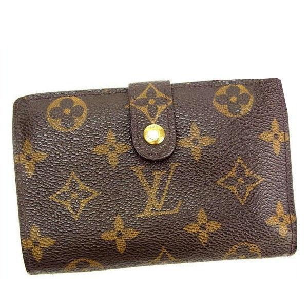 【中古】 ルイヴィトン Louis Vuitton がま口財布 二つ折り メンズ可 /ポルトモネ ビエヴィエノワ モノグラム M61663 ブラウン PVC×レザー (あす楽対応)(激安・即納) Y143 .