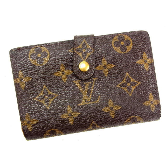 【中古】 ルイヴィトン Louis Vuitton がま口財布 二つ折り メンズ可 /ポルトモネ ビエヴィエノワ モノグラム M61663 ブラウン PVC×レザー (あす楽対応)(激安・即納) Y144 .