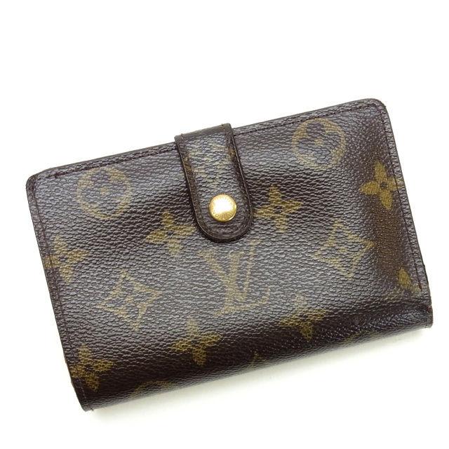 【中古】 ルイヴィトン Louis Vuitton がま口財布 二つ折り メンズ可 ポルトフォイユ・ヴィエノワ モノグラム M61663 ブラウン PVC×レザー (あす楽対応)(激安・即納) Y148 .