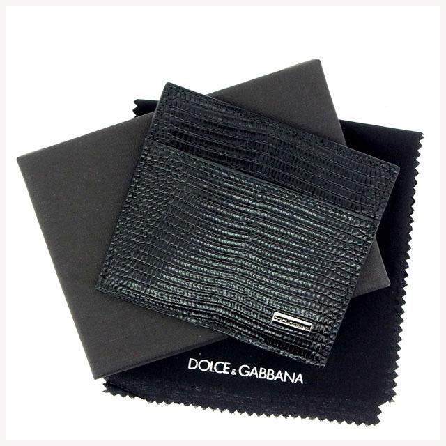 【中古】 ドルチェ&ガッバーナ DOLCE&GABBANA カードケース /メンズ可 リザード型押し ブラック レザー (あす楽対応)(中古)(中古) Y197 .