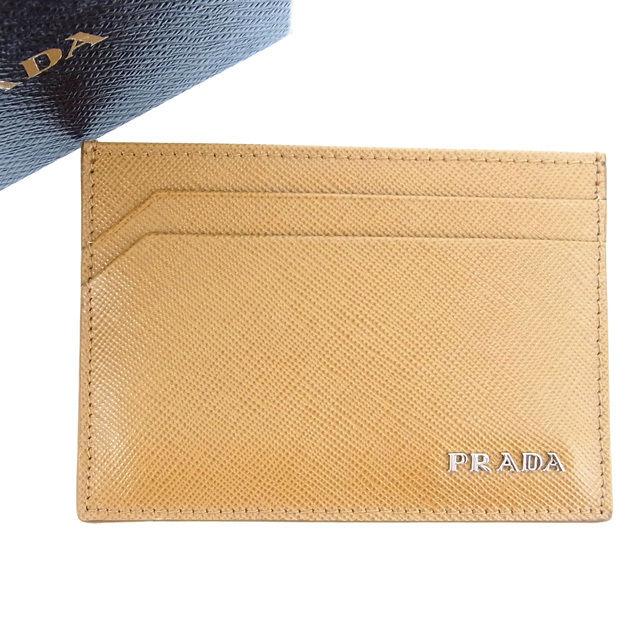 【中古】 プラダ カードケース /パスケース Prada ライトブラウン Y329s .