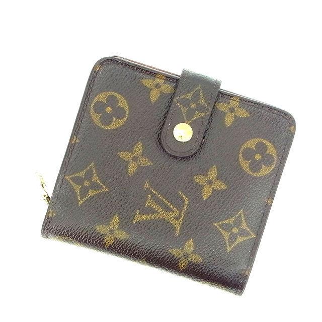 【中古】 ルイヴィトン Louis Vuitton 二つ折り財布 ラウンドファスナー メンズ可 /コンパクトジップ モノグラム M61667 ブラウン PVC×レザー (あす楽対応)(激安・即納) Y344 .