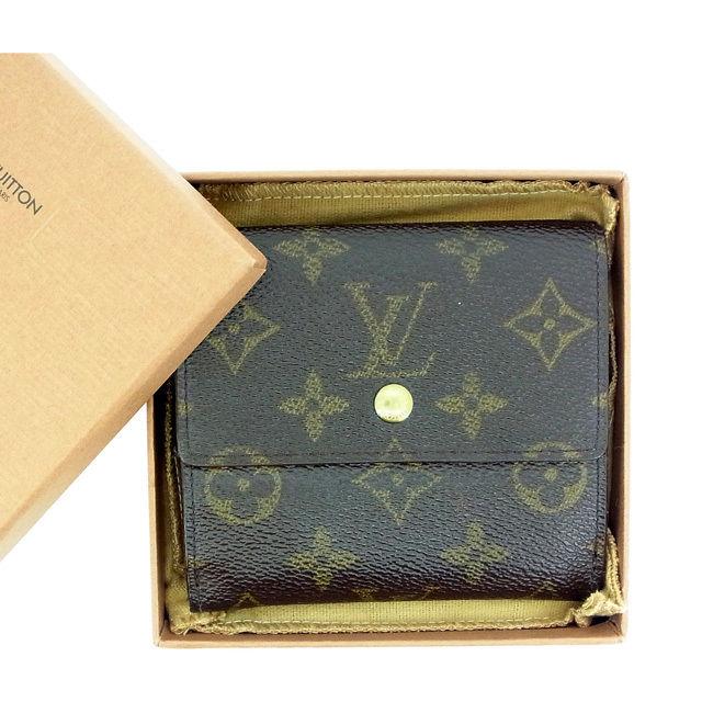 【中古】 ルイヴィトン Louis Vuitton Wホック財布 三つ折り /メンズ可 /ポルトフォイユエリーズ モノグラム M61652 ブラウン PVC×レザー (あす楽対応)(激安・即納) Y345 .