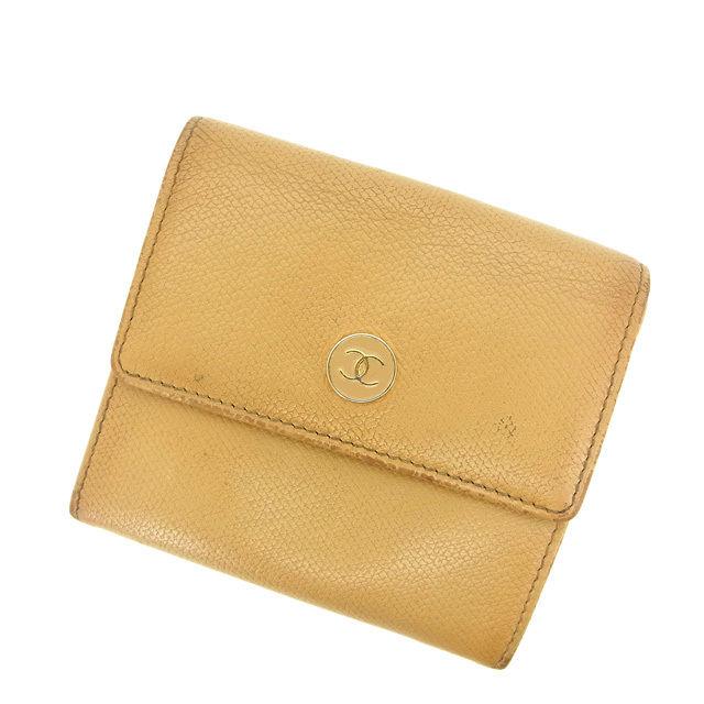 c16cb9898221 シャネル Chanel Wホック財布 財布 ベージュ コーチ ココボタン 財布 ...
