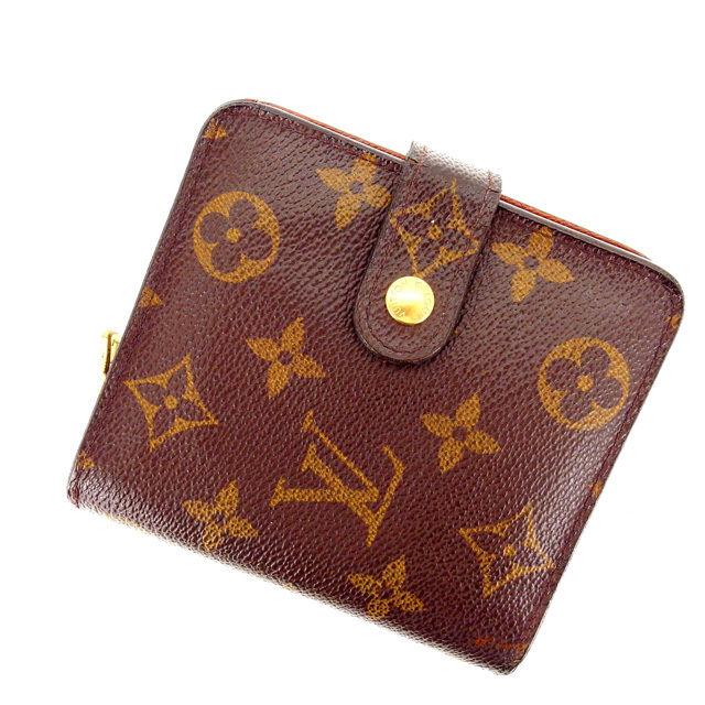 【中古】 ルイヴィトン Louis Vuitton 二つ折り財布 ラウンドファスナー /メンズ可 /コンパクトジップ モノグラム M61667 ブラウン PVC×レザー (あす楽対応)(激安・即納) Y402 .