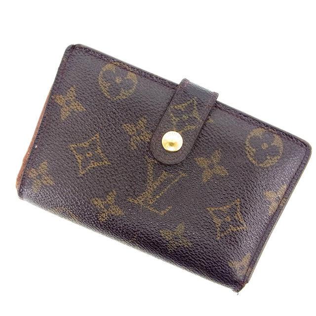 【中古】 ルイヴィトン Louis Vuitton がま口財布 二つ折り メンズ可 /ポルトモネ ビエヴィエノワ モノグラム M61663 ブラウン PVC×レザー (あす楽対応)(激安・即納) Y454 .