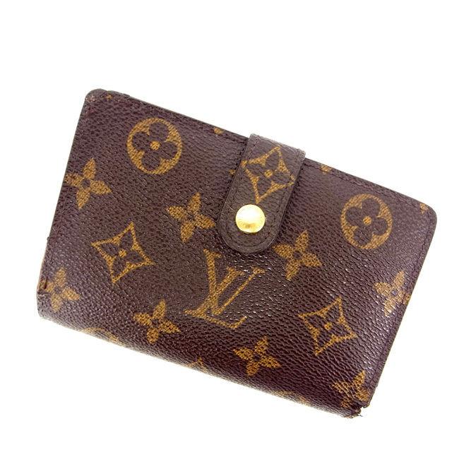 【中古】 ルイヴィトン Louis Vuitton がま口財布 二つ折り メンズ可 /ポルトモネ ビエヴィエノワ モノグラム M61663 ブラウン PVC×レザー (あす楽対応)(激安・即納) Y457 .
