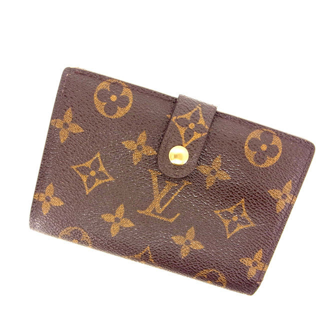 【中古】 ルイヴィトン Louis Vuitton がま口財布 二つ折り メンズ可 /ポルトモネ ビエヴィエノワ モノグラム M61663 ブラウン PVC×レザー (あす楽対応)(良品) Y495 .