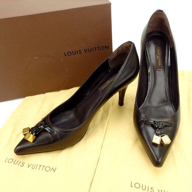 【中古】 ルイヴィトン Louis Vuitton パンプス #37 1/2 /レディース ブラウン レザー (あす楽対応)(人気・美品) Y605 .