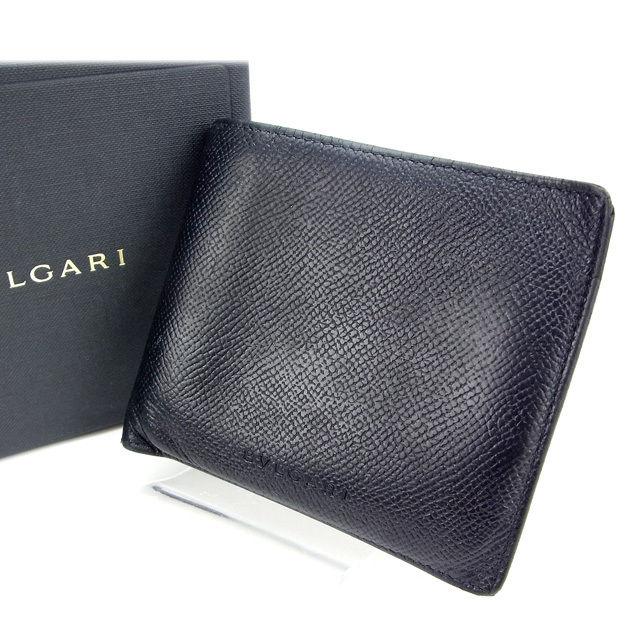 【中古】 ブルガリ BVLGARI 二つ折り財布 /メンズ可 ブラック レザー (あす楽対応)(人気・激安) Y644 .