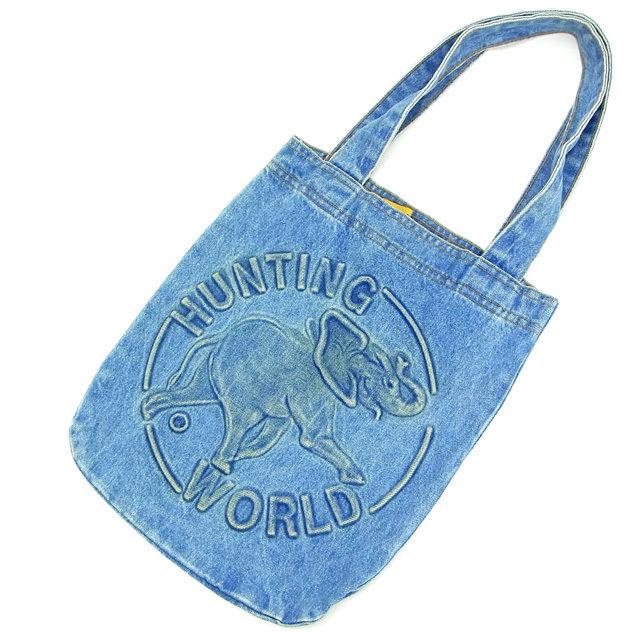 【中古】 ハンティングワールド トートバッグ ワンショルダー ブルー HUNTING WORLD バック 収納 ファッション ブランド ブランドバッグ 手持ちバッグ 人気 贈り物 迅速発送 在庫処分 男性 女性 良品 夏 1点物 T15549