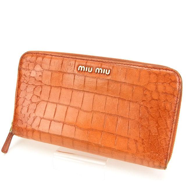 【中古】 ミュウミュウ 長財布 さいふ ラウンドファスナー クロコダイル型押し オレンジ miumiu 長サイフ サイフ 収納 ブランドブランド財布 さいふ ユニセックス 小物 人気 贈り物 迅速発送 在庫処分 1点物 T11177