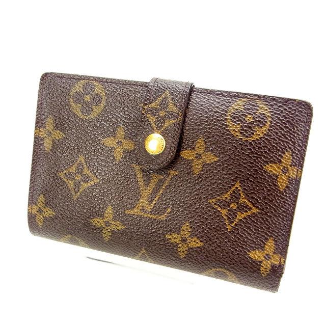 【中古】 ルイヴィトン Louis Vuitton がま口財布 二つ折り /メンズ可 /ポルトモネ ビエヴィエノワ モノグラム M61663 ブラウン PVC×レザー (あす楽対応)人気 激安 Y687 .