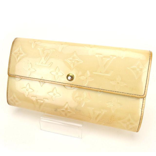 【中古】 ルイヴィトン Louis Vuitton 長財布 /ポルトフォイユ・サラ ヴェルニ M91466 ベージュ エナメルレザー (あす楽対応)人気 激安 Y739 .