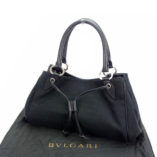 【中古】 ブルガリ BVLGARI ハンドバッグ ロゴマニア ブラック キャンバス×レザー (あす楽対応)人気 美品 Y746 .